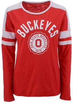 a6a04855bdf Top of the World Women s Ohio State Buckeyes Varsity Long Sleeve T-Shirt Top  Of