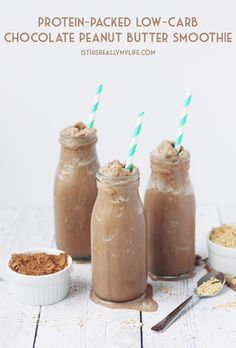 Protein-Packed Low-Carb Chocolate Peanut Butter Smoothie -- This chocolaty, peanut-buttery, protein-packed smoothie is low carb thanks to unsweetened almond milk, cocoa powder and no-calorie sweetener.   isthisreallymylife.com