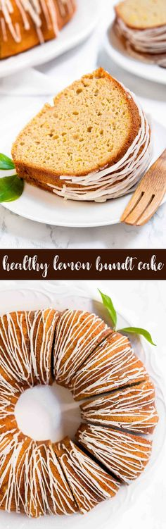 The BEST Healthy Lemon Bundt Cake -- only 122 calories! It's so tender & full of flavor! You don't even need a mixer to make it. SO easy! It's the best lemon cake I've ever had!! ♡ lemon bundt cake from scratch. healthy lemon bundt cake with greek yogurt. moist lemon bundt cake with glaze. clean eating healthy lemon dessert. sugar free healthy lemon dessert. #healthyrecipes