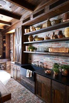 Unique Tips: Kitchen Remodel Cherry Paint Colors kitchen remodel dark cabinets rustic.Kitchen Remodel Must Haves Interiors farmhouse kitchen remodel pictures. Rustic Country Kitchens, Southern Kitchens, Country Kitchen Designs, Outdoor Kitchen Design, Home Kitchens, Farmhouse Kitchens, Design Kitchen, Dark Wood Kitchens, Country Interior