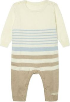 NATURES PUREST Striped knitted cotton all-in-one 0-3 months