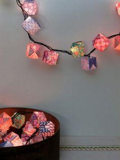 Origami balls + string of lights