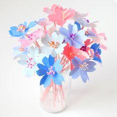 Kit DIY bouquet de fleurs de cerisier rose et bleu - Adeline Klam