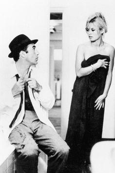 Brigitte Bardot and Michel Piccoli in Jean-Luc Godard's Le Mepris, 1964.