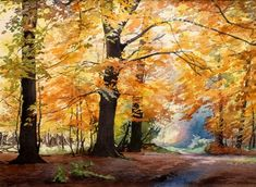 """""""Autumn"""" watercolor by artist Brian Robinson. There can never be too many interpretations of Fall! Watercolor Painting Techniques, Watercolor Artists, Watercolor Paintings, Watercolours, Watercolor Leaves, Watercolor Landscape, Landscape Paintings, Great Paintings, Beautiful Paintings"""