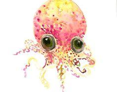 Cute Baby Octopus art original watercolor painting, 12 X 9 in, nursery art, chidlren room, cute sea animals, Nautical,