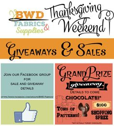 BWD Fabrics Thanksgiving week 2015 Grand Prize Giveaway