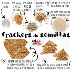 Feliz viernes! Vamos a hacer crujiente al finde con éstos crackers de semillas tan sencillos de preparar! Ideales para acompañar un… Raw Food Recipes, Veggie Recipes, Cooking Recipes, Easy Snacks, Healthy Snacks, Vegan Vegetarian, Vegetarian Recipes, Club Crackers, Snacks Saludables