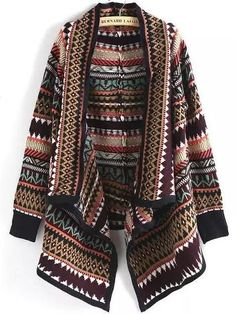 To find out about the Multicolor Geometric Print Loose Cardigan at SHEIN, part of our latest Sweaters ready to shop online today! Loose Fitting Tops, Loose Tops, Cut Loose, Short Sleeve Cardigan, Long Sleeve Tops, Black Cardigan, Long Cardigan, Estilo Navajo, Multi Coloured Cardigans