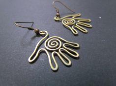 Palms, Wire Wrapped Brass Earrings. $10.00, via Etsy.