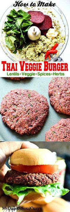 Thai lentil burger with mixed lentils herbs spices #vegan #healthy