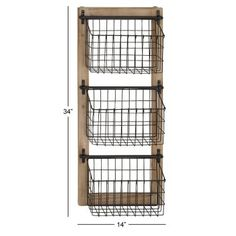 Enhance household organization with the distinctive DecMode Industrial Wood and Iron Basket Wall Rack . This wall rack features a sturdy wood and iron. Farmhouse Magazine Racks, Produce Baskets, Produce Storage, Black Wire Basket, Industrial Irons, Rustic Industrial, Rustic Bathroom Decor, Farmhouse Decor, Baskets On Wall