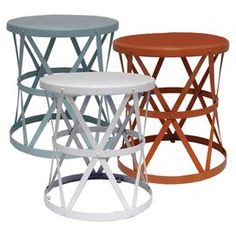 """Set of 3 openwork metal garden stools.  Product: 3-Piece garden stool setConstruction Material: MetalColor: White, red, and slate blueDimensions: 18.5"""" H x 16.5"""" Diameter each"""
