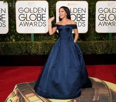 Pin for Later: Don't Miss a Single Sexy Look From the Golden Globes Gina Rodriguez Wearing a Zac Posen gown, Jimmy Choo heels, and Neil Lane jewels.