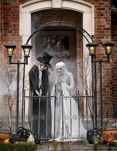 Monsterweds Even skeletal zombies need love. Invite the bride and groom to vow their eternal devotion on your front porch or let them gaze down on the festivities from an upstairs balcony. Their ghostly presence is just who you'll want on your #Halloween party guest list. #decorations