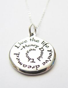 Inspirational Jewelry Henry David Thoreau Quote by HeartProjects, $28.95