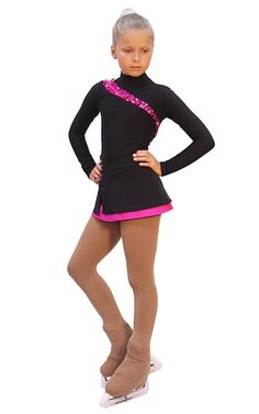 IceDress - Figure Skating Dress - Lasso(Black with Fuchsia)