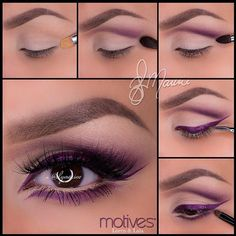 """Photo: Hi again loves✨ I wanted to share a step by step pictorial for Yesterday's purple cut crease hope you find this helpful 1.Start by applying """"Birch"""" (element palette) all over the lid and underneath the brow bone  2.Apply """"Breaking Dawn"""" in a cut crease fashion but taking it up right underneath the front of the brow 3.To darken the look and give it more dimension, apply """"Ecstasy"""" shadow over top, stopping about half way! Taking a bit of """"Onyx"""" apply just in the outer corner, blending…"""