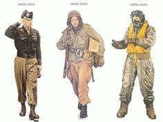 World War II Uniforms - United States – 1944 May, England, Major-General, 82nd Airborne Division United States – 1944 Nov., Belgium, Private, 101st Airborne Division United States – 1945 Feb., East Anglia, Bomber Crewman, 8th Army Air Force