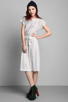 Vintage '80s Rainbow Striped Dress #urbanoutfitters #vintage