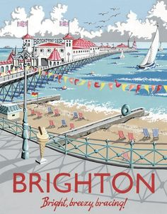 Brighton Pier - Vintage travel poster (England) one of my favourite places. Posters Uk, Retro Poster, Poster Ads, Vintage Travel Posters, Railway Posters, Retro Print, Pub Vintage, Photo Vintage, Vintage Room