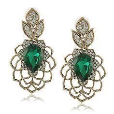 a48195fc70c Amazon.com  Salinla Jewelry New Luxury Pendientes Rhinestone Big Blue Green  Water Drop Created Crystal Earrings for Wedding Brincos De Festa 18k gold  long ...