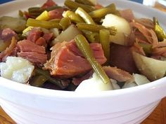 Slow Cooker Ham, Potatoes and Green Beans