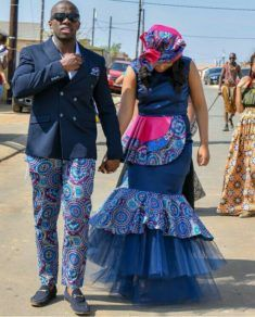 Bride and Groom In Zulu Traditional Wedding Attire For