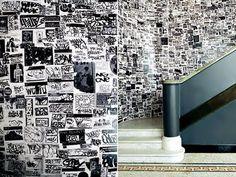Black & white graffiti wall @ Ace Hotel