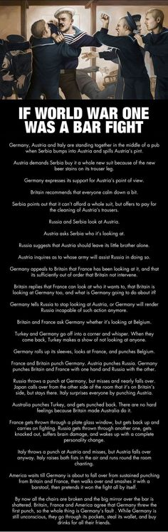 If World War One was a Bar Fight World War One History