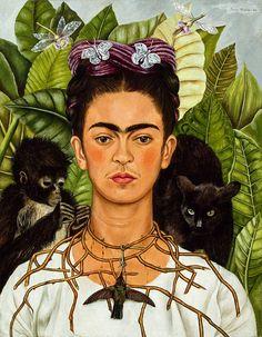 Kunstwerk: 'Frida Kahlo, Zelfportret met doornenketting en kolibrie' van Frida Kahlo