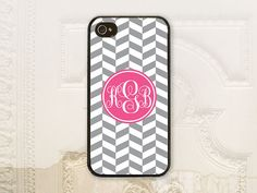 Monogram phone case iPhone 4 4s 5 5s 5c 6 6+ plus Samsung Galaxy s3 s4 s5 Light Gray & White herringbone phone case  by LilStinkerDesign