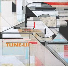 CIRCULATIONS OF THE COMPACTO TUNE UP • 2012 • Augustine Kofie •  19 1/2 x 19 1/2 x 1 3/4 inches Found paper, acrylic, pencil, white out, ball point pen & screen print on wood panel. Finished in matte satin varnish. Framed in mahogany lattice & found vintage yardsticks