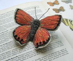Embroidered butterfly brooches