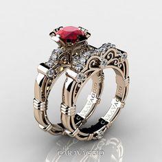 Económico, elegante y chic, este arte maestros Caravaggio 14K Rose Gold 1.0 Ct rubí diamante anillo de compromiso boda banda ajuste R623S-14KRGDR es seguro deleitar el gusto más exigente. Llamativo y decoradas para tu momento especial, este magnífico piezas nupciales son un espectáculo para la vista. También disponible en www.CaravaggioJewelry.com  Descuento set nupcial adicional $300 se ha aplicado en este conjunto.  El sistema incluye:  Anillo de compromiso  * 1 x sobre 5,0 gramos TW…