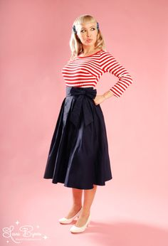 Pinup Couture Audrey Long Skirt with Faux Bow sash match with creme shirt? $80