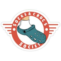 'Socks & Crocs society crest' Sticker by Jayhowley Buy Socks, Float Your Boat, Phone Stickers, Planner Template, Glossier Stickers, Cotton Tote Bags, Classic T Shirts, Prints, T Shirts
