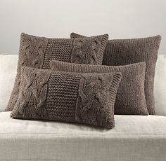 Set of pillows. Pillows with patterns. Knitted Pouf, Knitted Cushions, Knitted Blankets, Diy Cushion, Cushion Covers, Pillow Covers, Sweater Pillow, Crochet Pillow, Burlap Pillows