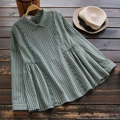 Sweet Spring Peter Pan Collar Striped Flowers Embellished Ruched Womens Shirts Blouses Long Sleeved Skirt Babydoll Top B Kurta Designs, Blouse Designs, Stylish Dresses, Nice Dresses, Casual Dresses, Hijab Fashion, Korean Fashion, Fashion Dresses, Hijab Stile