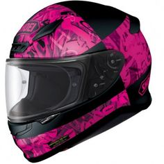 Shoei NXR Boogaloo Helmet with a Matt Black / Pink Chequered design throughout the graphic is designed to catch the eye of women looking for a top quality motorcycle helmet.