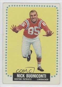Nick Buoniconti COMC REVIEWED Good to VG-EX Boston Patriots (Football Card) 1964 Topps #3 by Topps. $20.00. 1964 Topps #3 - Nick Buoniconti COMC REVIEWED Good to VG-EX