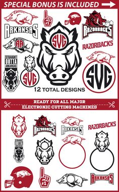 Arkansas Razorback SVG, Arkansas Svg, Razorback SVG, Monogram svg files, NFL Svg, Wild Boar Svg, Football svg, Arkansas Razorback Logo Svg