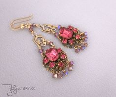 Vintage repurposed pink rhinestone and crystal earrings - uniquely designed by Jryen Designs