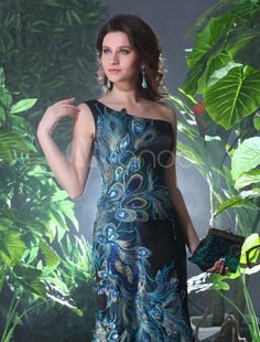 One-Shoulder Peacock Print Evening Dress Milanoo