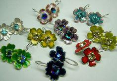 Earrings; silver, enamel, glass-stone - jewelry by Nicole Bolze ORIGINALS