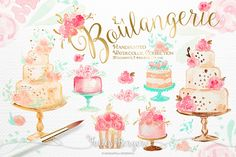 Bakery Clipart Watercolor Wedding Cakes Floral от KaramfilaS