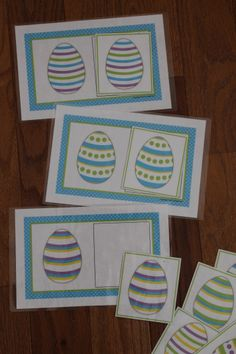 Easter egg matching cards - a great exercise in visual discrimination for preschool and busy bags