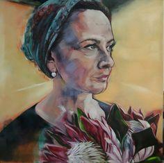 Melissa Von Brughan Self Portrait 2017 1m x 1m Commissions vonbrughan@gmail.com  Fine art prints available Protea Art, Fine Art Prints, Africa, Tropical Paintings, Artwork, Portraits, Work Of Art, Auguste Rodin Artwork, Artworks