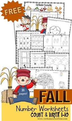 FREE Fall Number Worksheets 1-10 forToddler,  Preschool, Prek, Kindergarten - lots of fun ways for kids to practice counting, writing numbers, what comes next, and more!