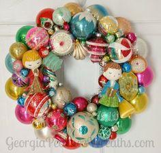 "Image of Xmas Fun Vintage Ornament Wreath - 15"" diameter"